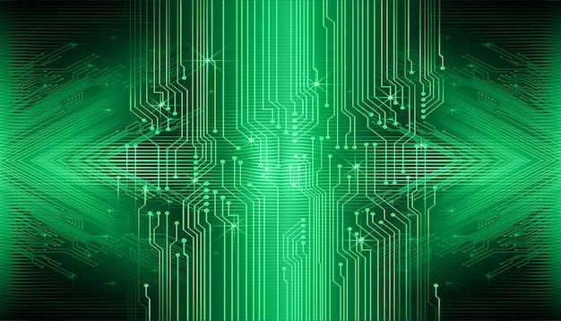 Fond de concept futur technologie cyber circuit vert Vecteur Premium