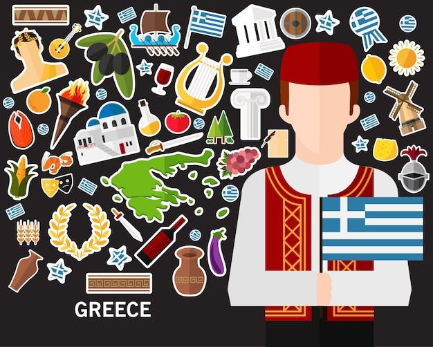 Fond de concept grèce. icônes plates Vecteur Premium
