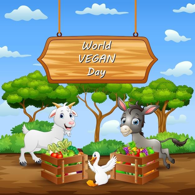 Fond De Concept Happy World Vegan Day Vecteur Premium