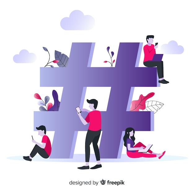 Fond de concept de hashtag de jeunes Vecteur gratuit