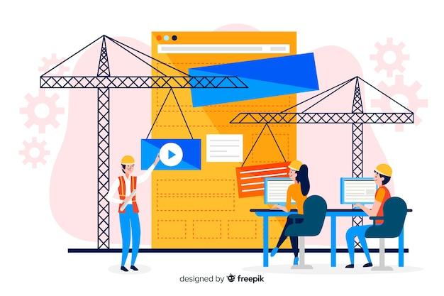 Fond De Concept Ingénierie Informatique Plat Vecteur gratuit