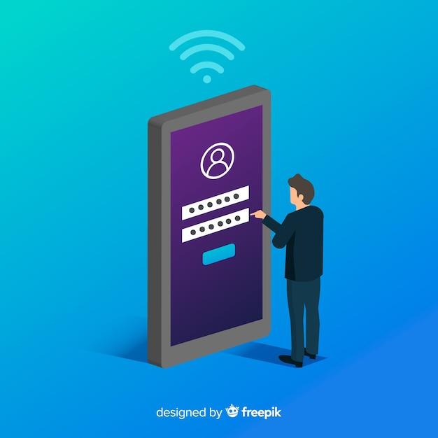 Fond de concept d'inscription en ligne Vecteur gratuit