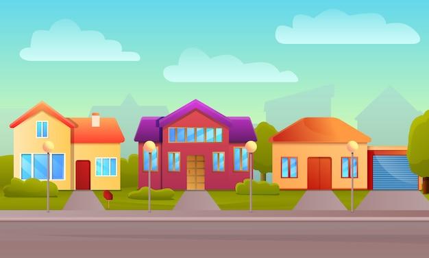 Fond de concept de maison cottage, style cartoon Vecteur Premium