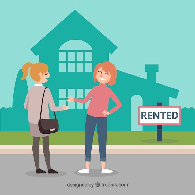 Fond de concept de maison louée Vecteur gratuit