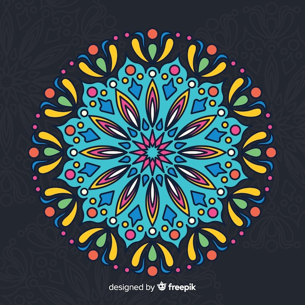 Fond de concept de mandala coloré Vecteur gratuit