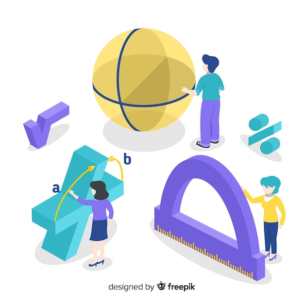 Fond De Concept De Maths Isométrique Vecteur gratuit