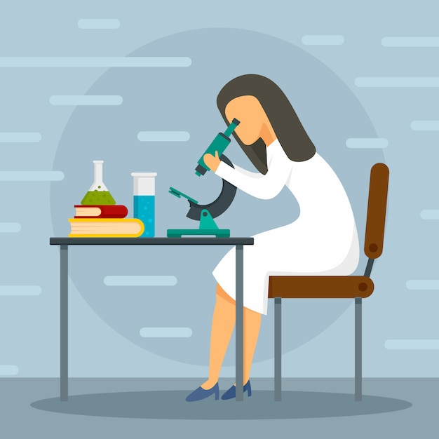 Fond de concept de microscope médical. Vecteur Premium
