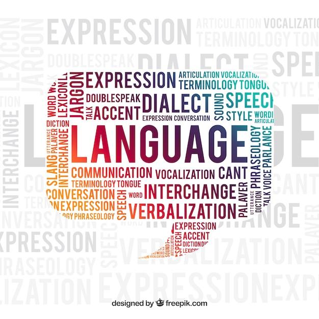 Fond De Concept De Mot De Langue Vecteur gratuit