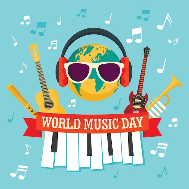 Fond de concept de musique du monde, style plat Vecteur Premium