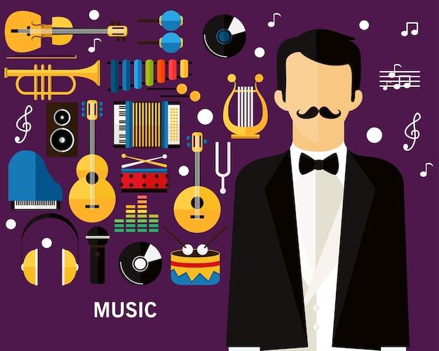 Fond de concept de musique. Vecteur Premium