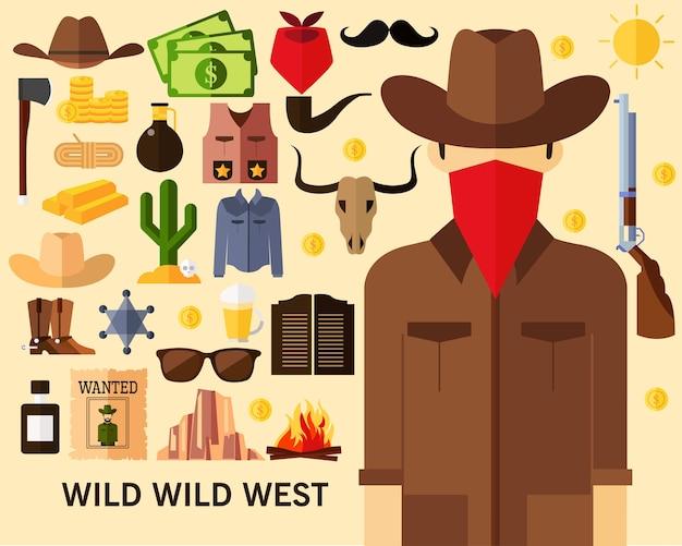 Fond de concept ouest sauvage sauvage. icônes plates Vecteur Premium