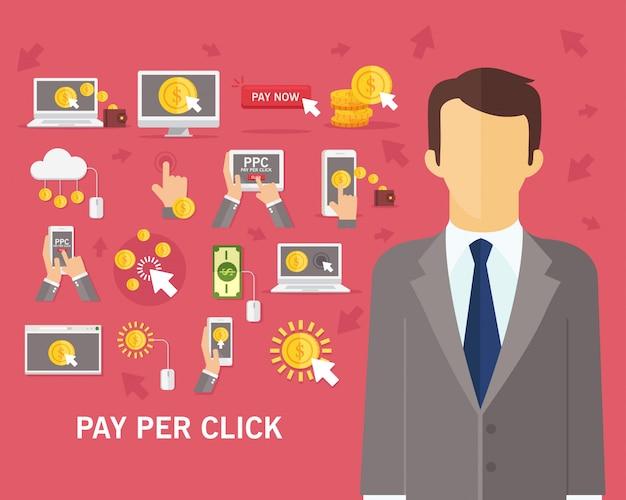 Fond de concept de paiement par clic Vecteur Premium