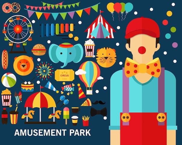 Fond De Concept De Parc D'attractions. Vecteur Premium
