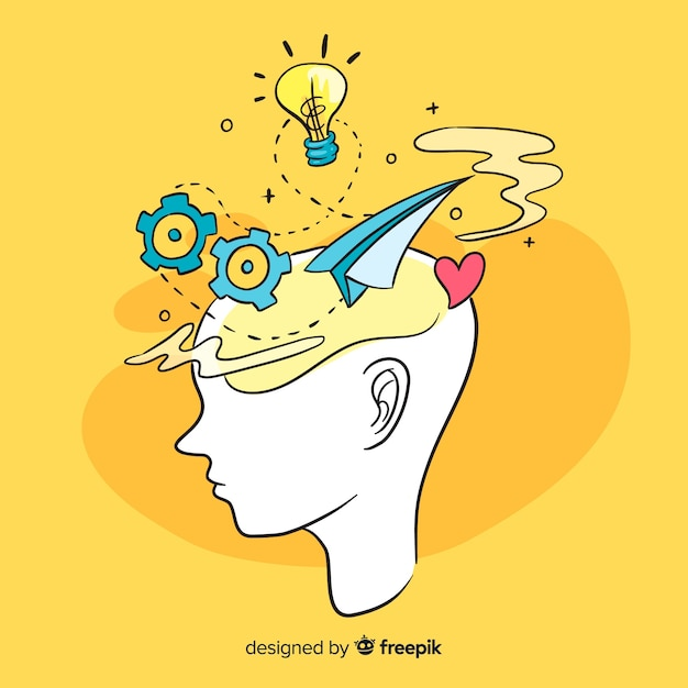 Fond de concept de pensée dessinés à la main Vecteur gratuit