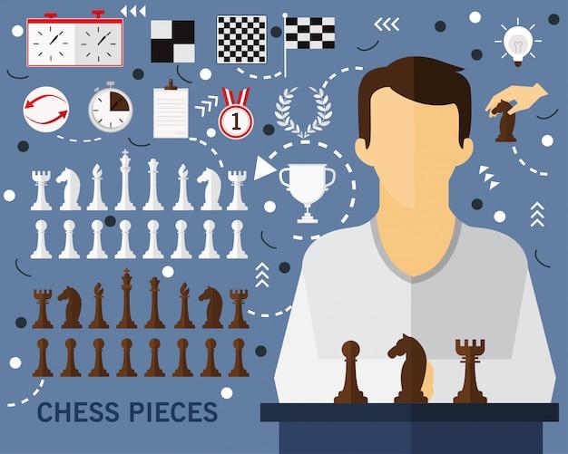 Fond de concept de pièces d'échecs Vecteur Premium