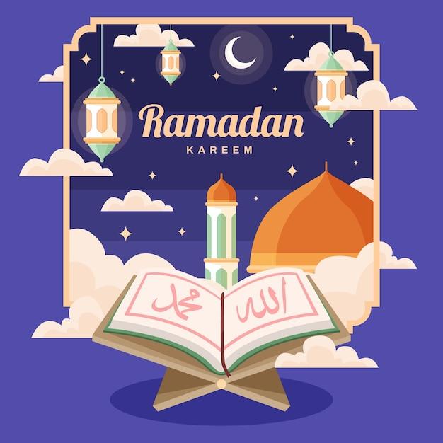 Fond De Concept Plat Ramadan Vecteur gratuit