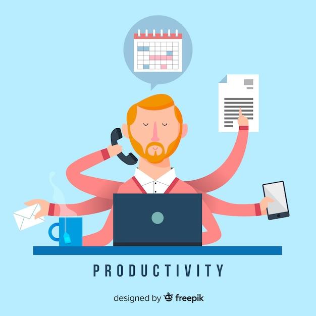 Fond de concept de productivité Vecteur gratuit