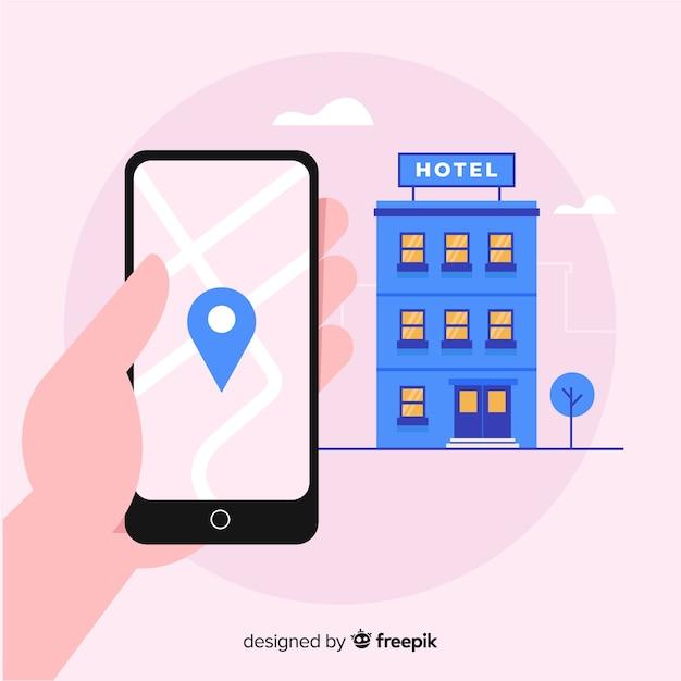Fond De Concept De Réservation Hôtel Plat Vecteur gratuit