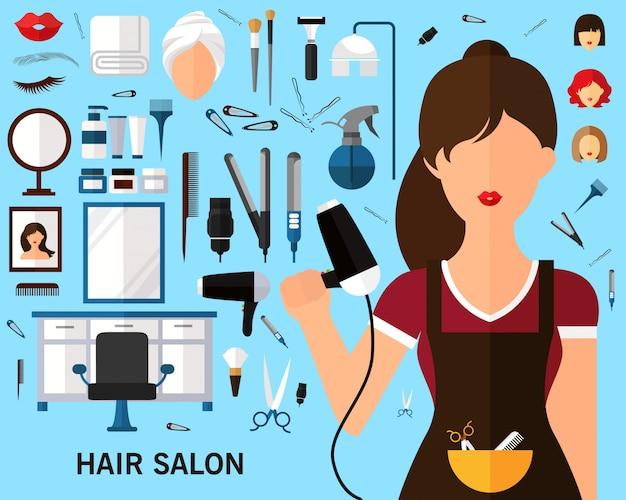 Fond de concept de salon de coiffure. Vecteur Premium