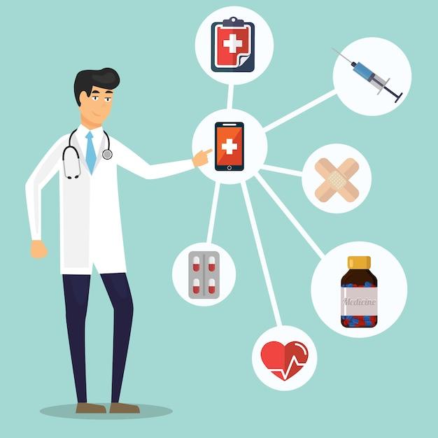 Fond de concept de soins de santé et médical Vecteur Premium