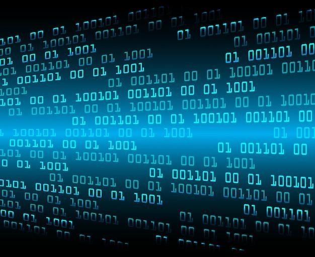 Fond de concept technologie future cyber circuit binaire bleu Vecteur Premium
