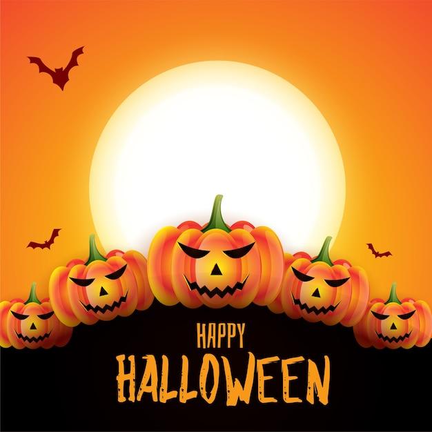 Fond De Conception De Carte Effrayant Effrayant Halloween Heureux Vecteur gratuit