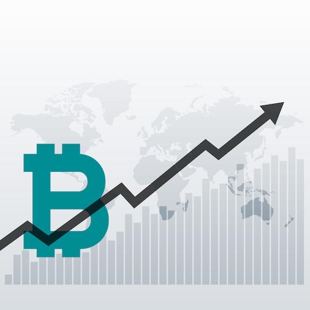 Fond de conception de graphique de croissance bitcoin vers le haut Vecteur gratuit