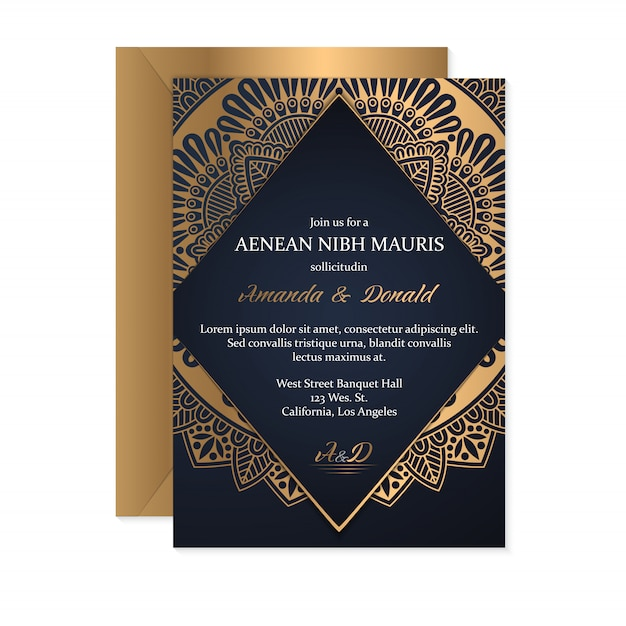 Fond de conception de mandala ornemental de luxe en couleur or Vecteur Premium