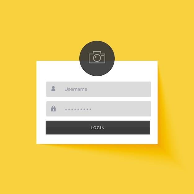 Fond de conception de modèle de formulaire de connexion jaune Vecteur gratuit