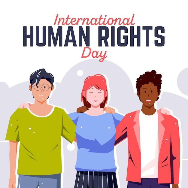 Fond De Conception Plate De La Journée Internationale Des Droits De L'homme Vecteur gratuit