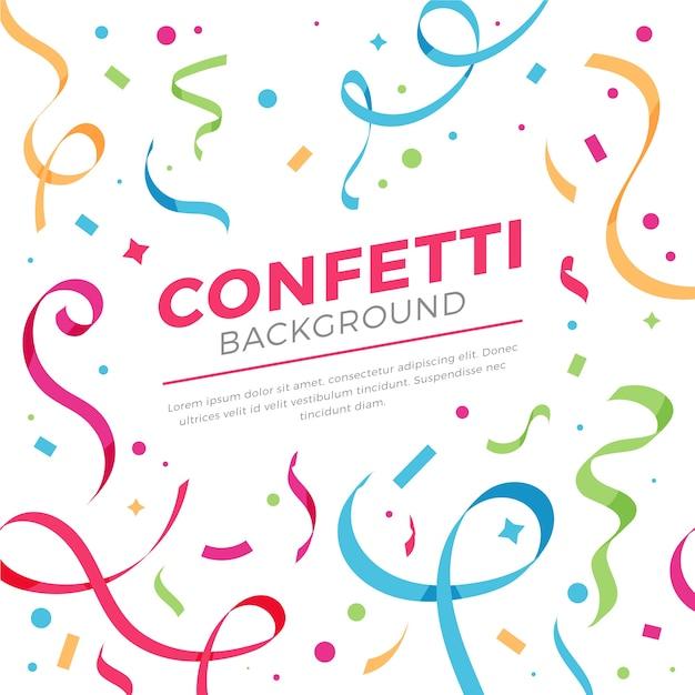 Fond De Confettis Au Design Plat Vecteur gratuit
