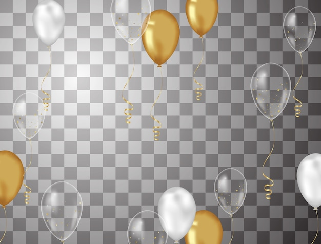 Fond de confettis et ballons d'or illustrations vectorielles Vecteur Premium