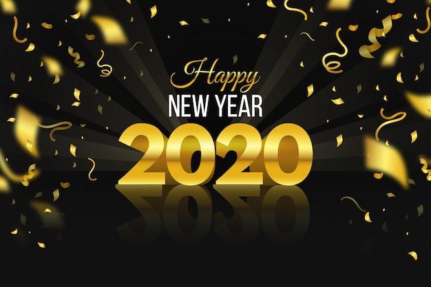 Fond De Confettis Nouvel An 2020 Vecteur gratuit