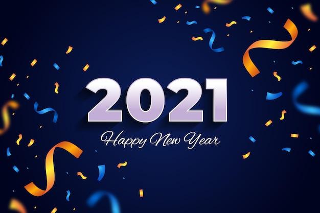 Fond De Confettis Nouvel An 2021 Vecteur Premium