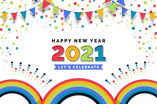 Fond De Confettis Nouvel An 2021 Vecteur gratuit