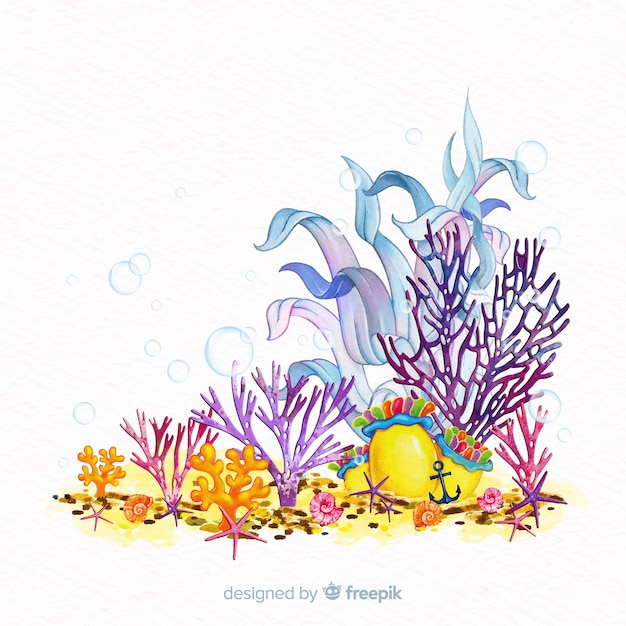 Fond de corail aquarelle coloré Vecteur gratuit