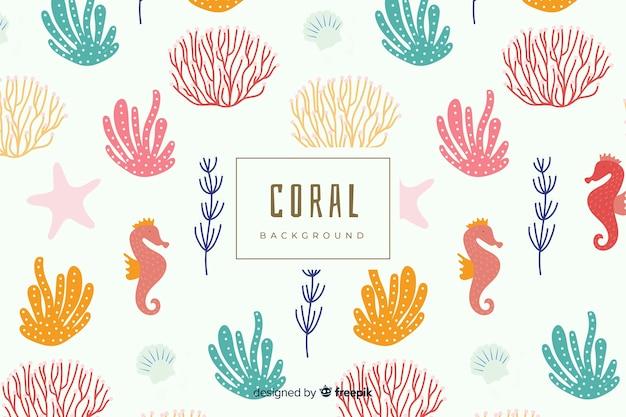 Fond de corail coloré dessiné à la main Vecteur gratuit