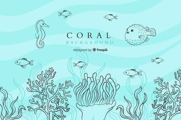 Fond De Corail Coloré Dessiné à La Main Vecteur Premium