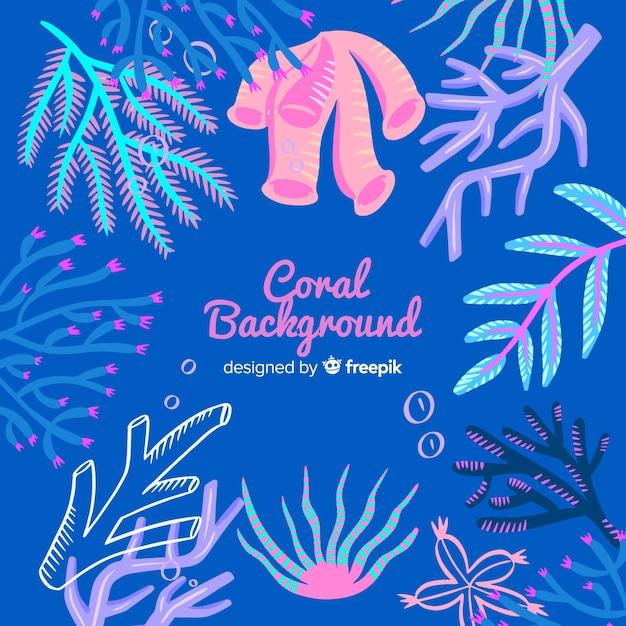 Fond de corail dessiné à la main Vecteur gratuit