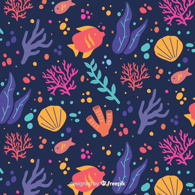 Fond corail foncé dessiné à la main Vecteur gratuit