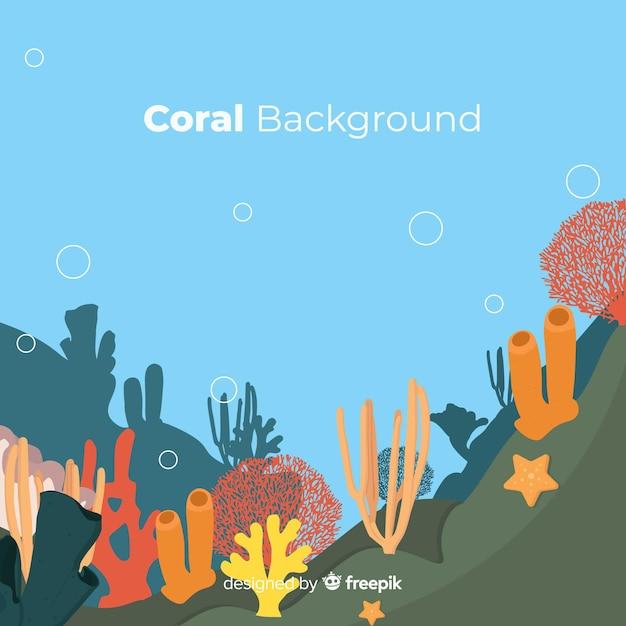 Fond de corail plat Vecteur gratuit