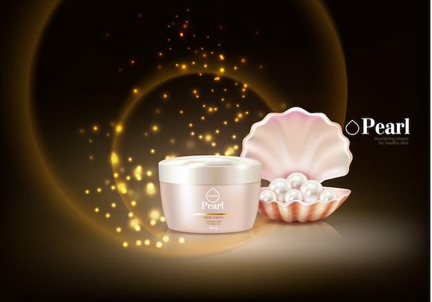 Fond cosmétique avec perle Vecteur gratuit