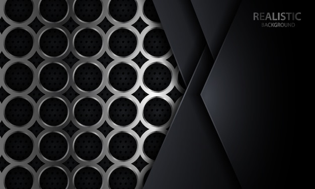 Fond de couche de chevauchement géométrique sombre sur la conception en métal cercle argent réaliste Vecteur Premium