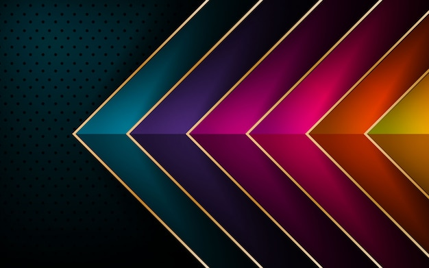 Fond de couche de chevauchement de vecteur de flèche colorée Vecteur Premium