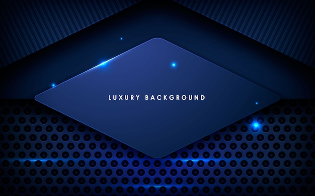 Fond de couche de recouvrement en métal bleu foncé Vecteur Premium