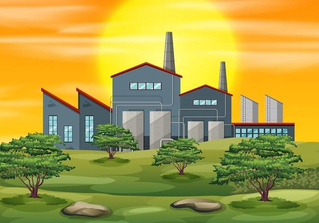 Un fond de coucher de soleil d'usine Vecteur Premium