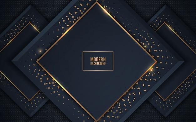 Fond de couches de luxe sombre avec des paillettes dorées Vecteur Premium