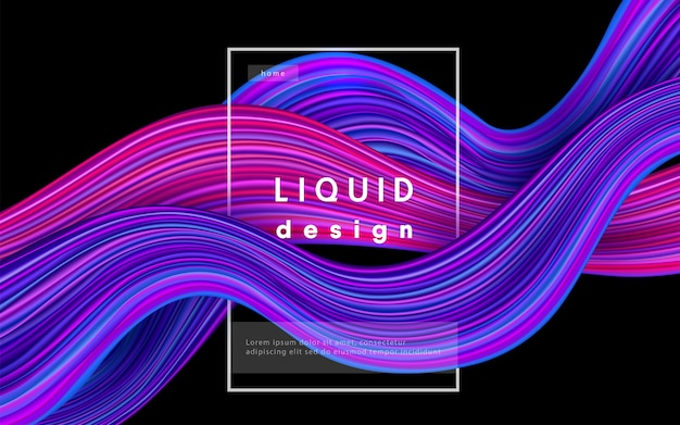 Fond De Couleur De Vague. Illustration De Conception 3d De Peinture D'écoulement Liquide. Concept D'art Géométrique D'encre Couleur Ondulée Dynamique. Vecteur gratuit