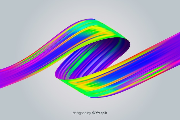 Fond De Coup De Pinceau Holographique Coloré Vecteur gratuit