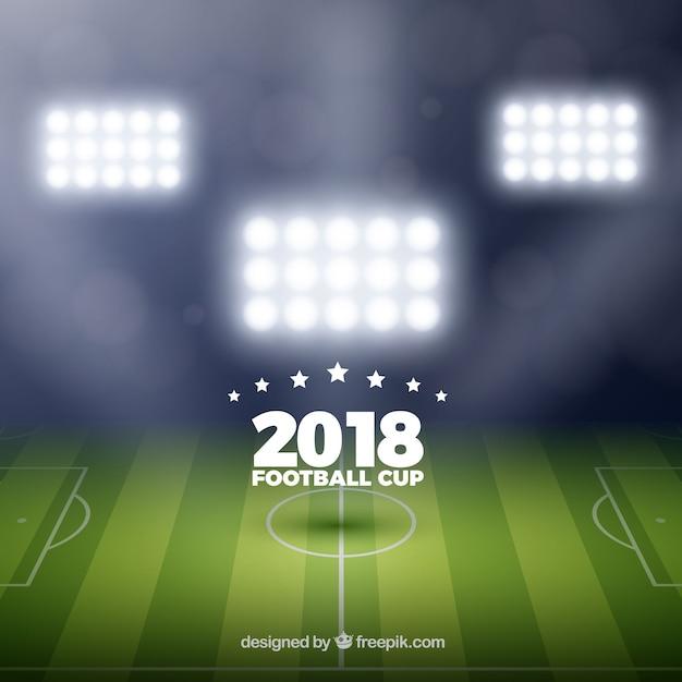 Fond de coupe du monde 2018 de football dans un style réaliste Vecteur gratuit